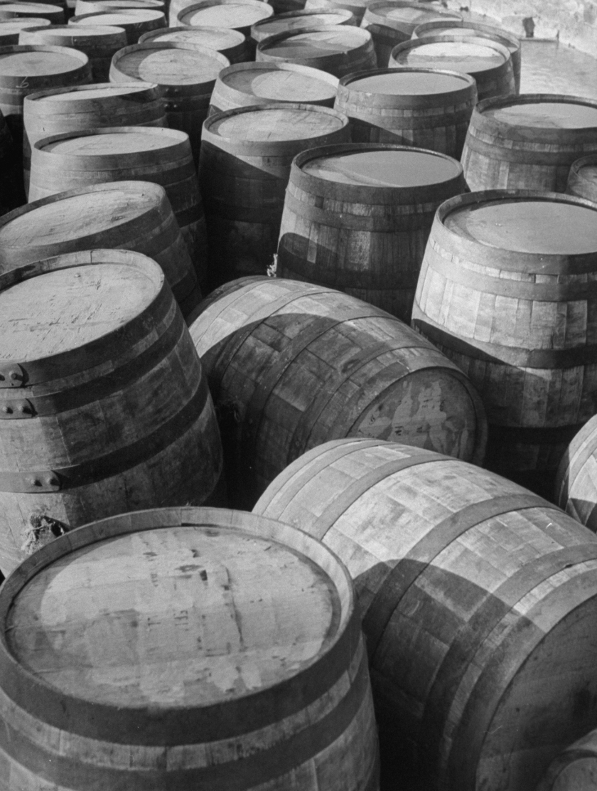 Barrels sitting in warehouse at Jack Daniels distillery. (Photo by Ed Clark/The LIFE Picture Collection/Getty Images)
