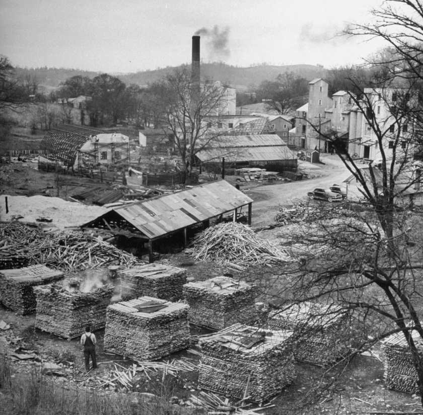 Making Jack Daniels whiskey at his distillery, showing the leaching process with charcoal. (Photo by Ed Clark/The LIFE Picture Collection/Getty Images)