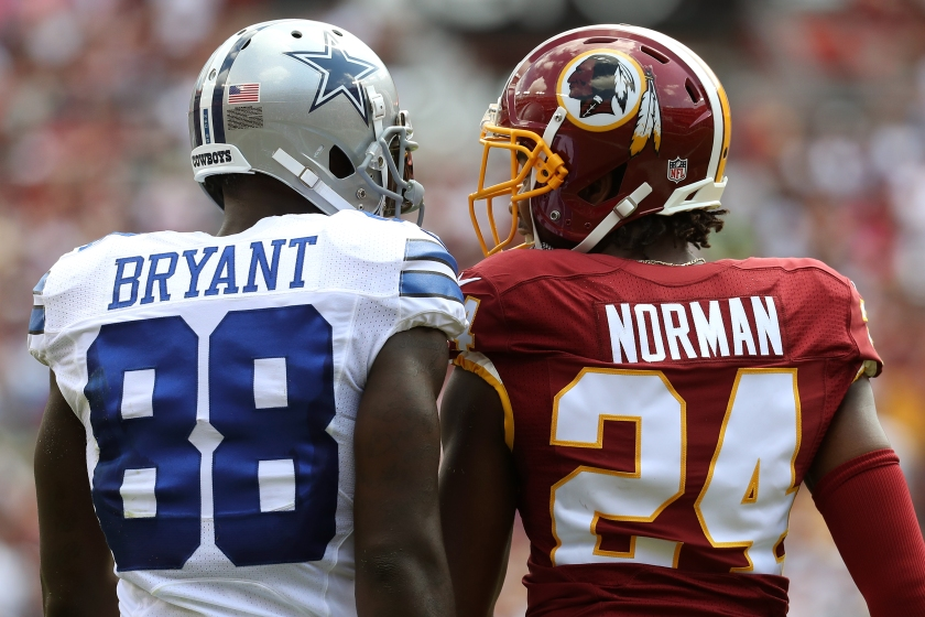 Wide receiver Dez Bryant #88 of the Dallas Cowboys argues with cornerback Josh Norman #24 of the Washington Redskins during the first quarter at FedExField on September 18, 2016 in Landover, Maryland. (Rob Carr/Getty Images)