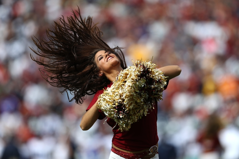 A Washington Redskins cheerleader performs during a game against the Dallas Cowboys at FedExField on September 18, 2016 in Landover, Maryland. (Patrick Smith/Getty Images)
