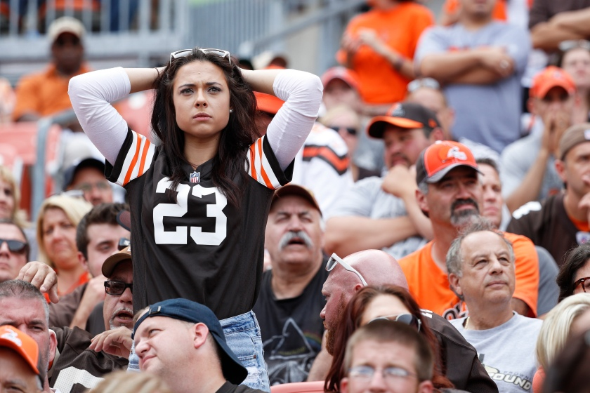 A Cleveland Browns fan reacts in the fourth quarter of the game against the Baltimore Ravens at FirstEnergy Stadium on September 18, 2016 in Cleveland, Ohio. The Ravens defeated the Browns 25-20. (Joe Robbins/Getty Images)