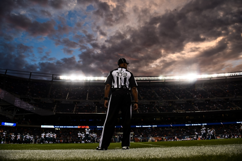 A referee watches the field during the game between the Chicago Bears and the Philadelphia Eagles at Soldier Field on September 19, 2016 in Chicago, Illinois. (Stacy Revere/Getty Images)