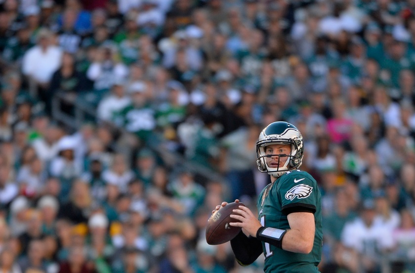 Quarterback Carson Wentz #11 of the Philadelphia Eagles looks to pass against the Pittsburgh Steelers in the second quarter at Lincoln Financial Field on September 25, 2016 in Philadelphia, Pennsylvania. (Alex Goodlett/Getty Images)