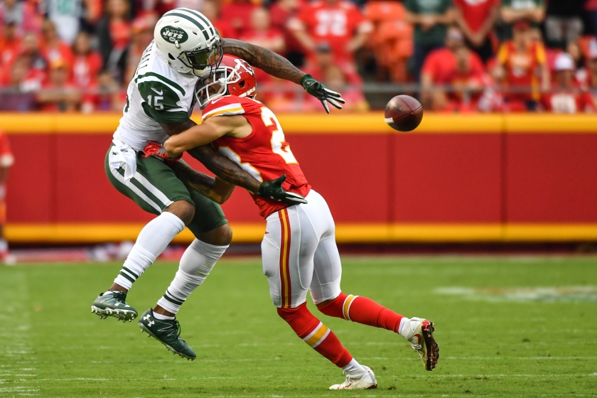 Wide receiver Brandon Marshall #15 of the New York Jets trys to make a catch through cornerback Phillip Gaines #23 of the Kansas City Chiefs at Arrowhead Stadium during the fourth quarter of the game on September 25, 2016 in Kansas City, Missouri. (Peter Aiken/Getty Images)
