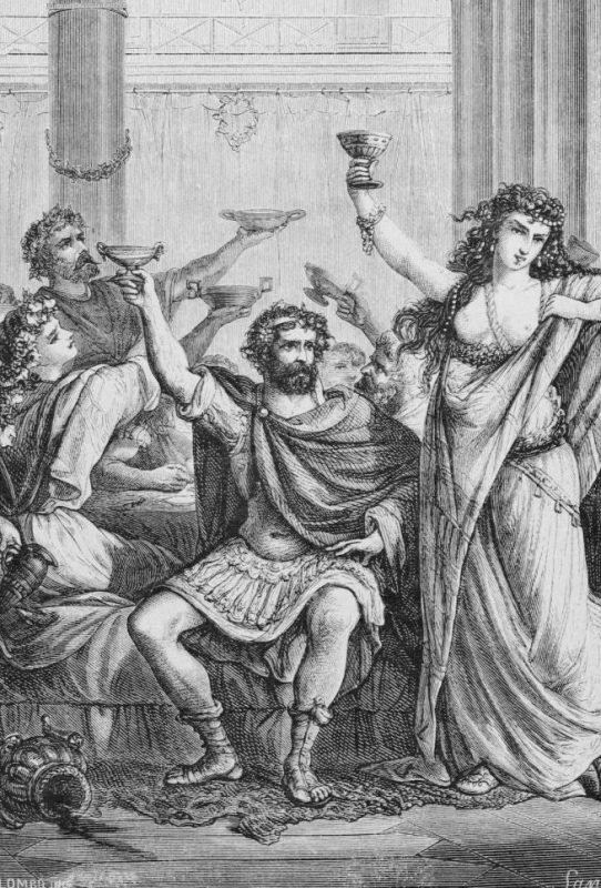 Engraving of Hannibal and His Men Celebrating in CapuaORIGINAL CAPTION READS: Eating: A Roman banquet. Undated engraving.