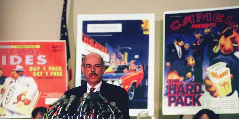 UNITED STATES - JANUARY 15: TOBACCO DOCUMENTS-- Henry A. Waxman, D-Calif., releases new tobacco documents showing how R.J. Reynolds tobacco was obsessed with getting the teenage smoking market. And to do that, they developed joe camel. (Photo by Douglas Graham/Congressional Quarterly/Getty Images)