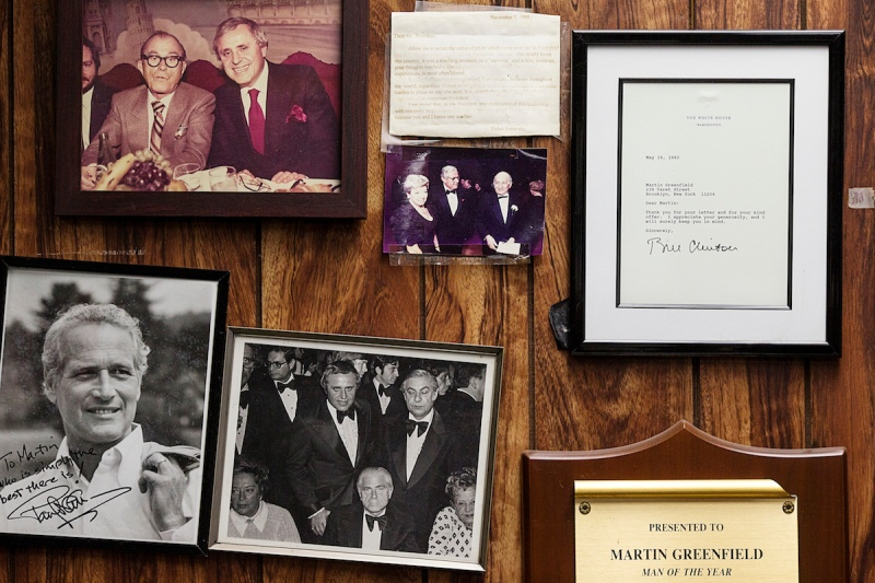 Brooklyn, New York - October 10, 2012: The walls of Martin Greenfield's office are lined with photos and letters from past and current high profile clientele. Greenfield's office was photographed at Martin Greenfield Clothiers in Brooklyn, NY on Wednesday October 10, 2012. (Photo by Joseph Victor Stefanchik for The Washington Post via Getty Images)