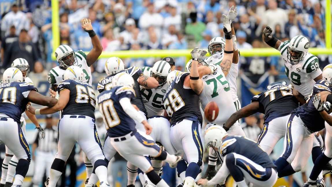 SAN DIEGO - JANUARY 17: Nate Kaeding #10 of the San Diego Chargers misses a field goal at the end of the second quarter against the New York Jets during AFC Divisional Playoff Game at Qualcomm Stadium on January 17, 2010 in San Diego, California.The Jets defeated the Chargers 17-14. (Photo by Rob Tringali/Sportschrome/Getty Images)