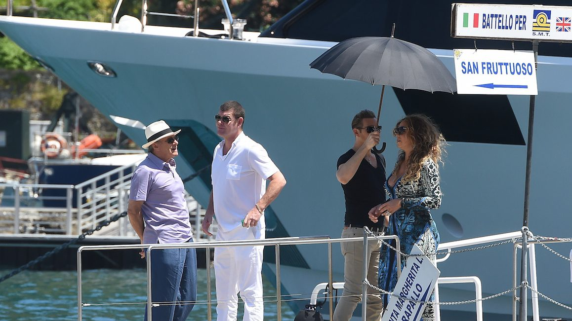 PORTOFINO, ITALY - JUNE 26:  Mariah Carey, James Packer and Kerry Stokes are seen on June 26, 2015 in Portofino, .  (Photo by Photopix/GC Images)