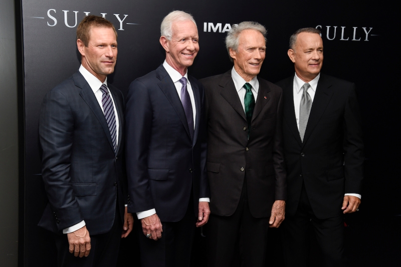 "NEW YORK, NY - SEPTEMBER 06: (L-R) Aaron Eckhart, Chesley ""Sully"" Sullenberger, Clint Eastwood and Tom Hanks attend the ""Sully"" New York Premiere at Alice Tully Hall on September 6, 2016 in New York City. (Photo by Matthew Eisman/Getty Images)"