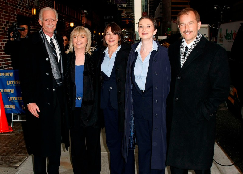 "US Airways Flight 1549 crew, Captain Chesley ""Sully"" Sullenberger, Flight Attendants Sheila Dail, Doreen Welsh, Donna Dent, and First Officer Jeffrey Skiles visit ""Late Show with David Letterman"" at the Ed Sullivan Theater on February 10, 2009 in New York City. (Photo by Jeffrey Ufberg/WireImage)"