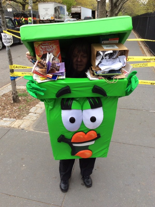 Mascot for the Safe Disposal program, organized by the government of New York, offers residence a drive-through drop off their unwanted electronics in the Brooklyn borough of New York, New York, United States.