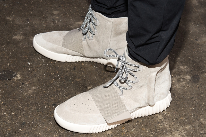 NEW YORK, NY - FEBRUARY 18: A general view of the Kanye West Adidas YEEZY 3 sneakers outside the Jeremy Scott fashion show during MADE Fashion Week at MILK Studios on February 18, 2015 in New York City. (Photo by Michael Stewart/GC Images)