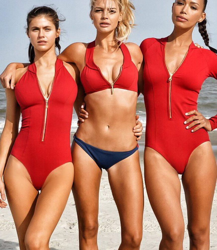 Rohrbach (center), along with her fellow Baywatch co-stars Alexandra Daddario (left) and Ilfenesh Hadera (Paramount Pictures)