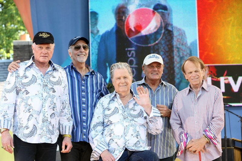 """NEW YORK, NY - JUNE 15: (L - R) Mike Love, David Marks, Brian Wilson, Bruce Johnston, and Al Jardine of The Beach Boys performs on ABC's """"Good Morning America"""" at Rumsey Playfield, Central Park on June 15, 2012 in New York City. (Photo by Bennett Raglin/WireImage)"""