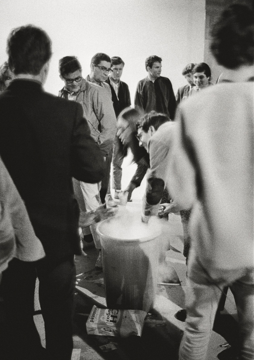 The Hollywood Acid Test was held at midnight on February 25, 1966, in a small film studio near the Sunset Strip, just down the block from photographer Lawrence Schiller's studio. The addition of dry ice to the LSD-spiked Kool-Aid was an effect that Kesey used as early as 1960. This photograph has never been published before. (Lawrence Schiller/Polaris Communications Inc.)