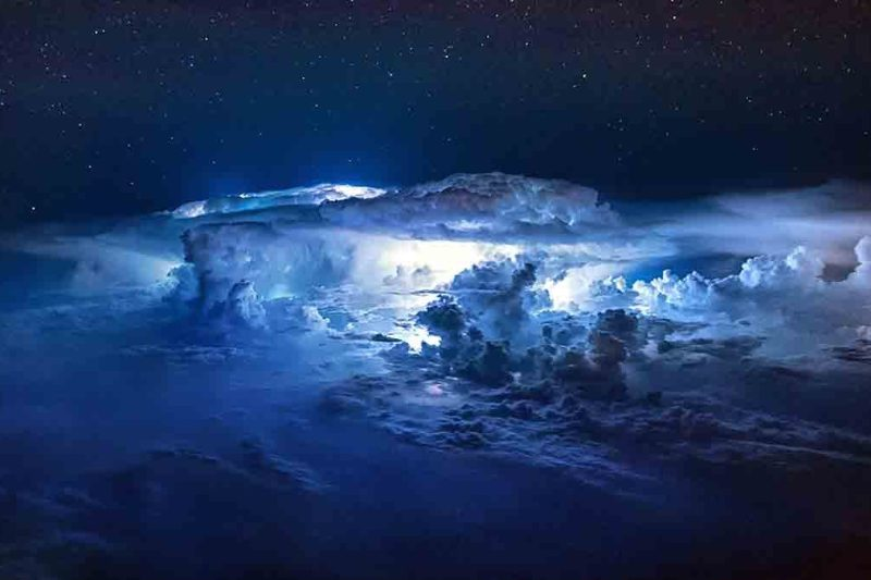 Thunderstorms light up the insides of clouds.(Christiaan van Heijst Daan Krans/Caters News)