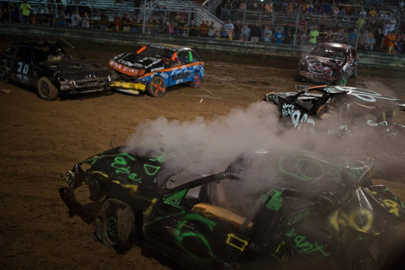 Drivers compete in the annual demolition derby at the Cambria County Fair on September 8, 2016, in Ebensburg, Pennsylvania. / AFP / DOMINICK REUTER (Photo credit should read DOMINICK REUTER/AFP/Getty Images)