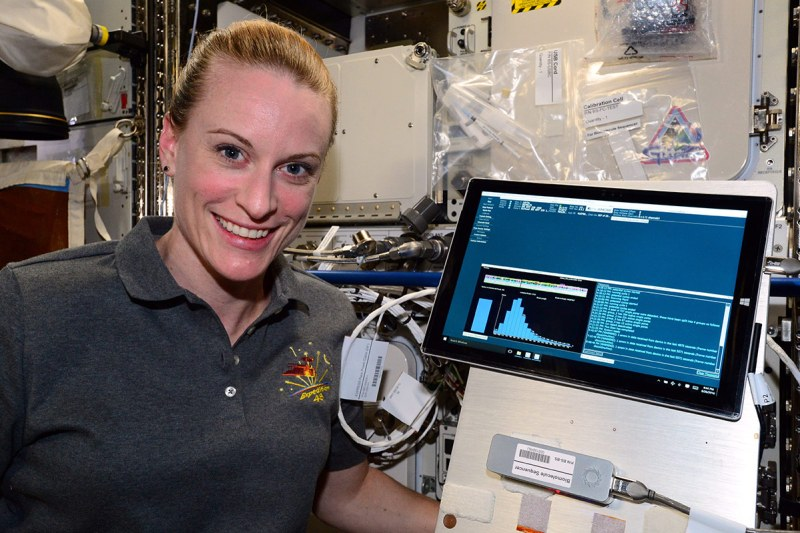 NASA Astronaut Kate Rubins sequenced DNA in space for the first time ever for the Biomolecule Sequencer investigation, using the MinION sequencing device. (NASA)
