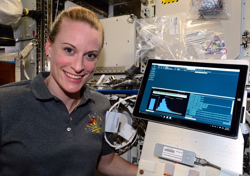 NASA Extreme Environment Mission Operations (NEEMO) crew member, Matthias Maurer of ESA, works on inserting samples into the MinION DNA sequencer as part of the Biomolecule Sequencer experiment. Researchers tested the device aboard the analog to minimize unknowns and see how the device worked in various extreme environments. (NASA)