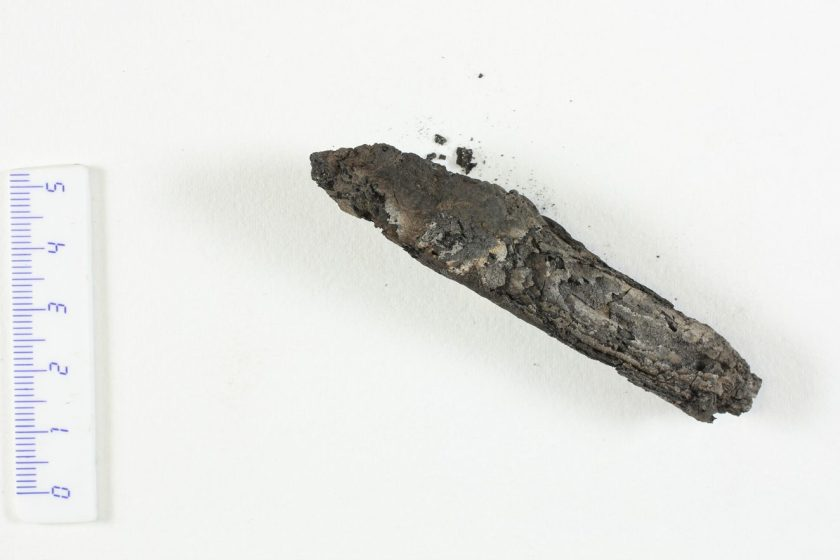 The charred Ein-Gedi scroll discovered in 1970 was too fragile to unwrap (Courtesy of the Leon Levy Dead Sea Scrolls Digital Library)