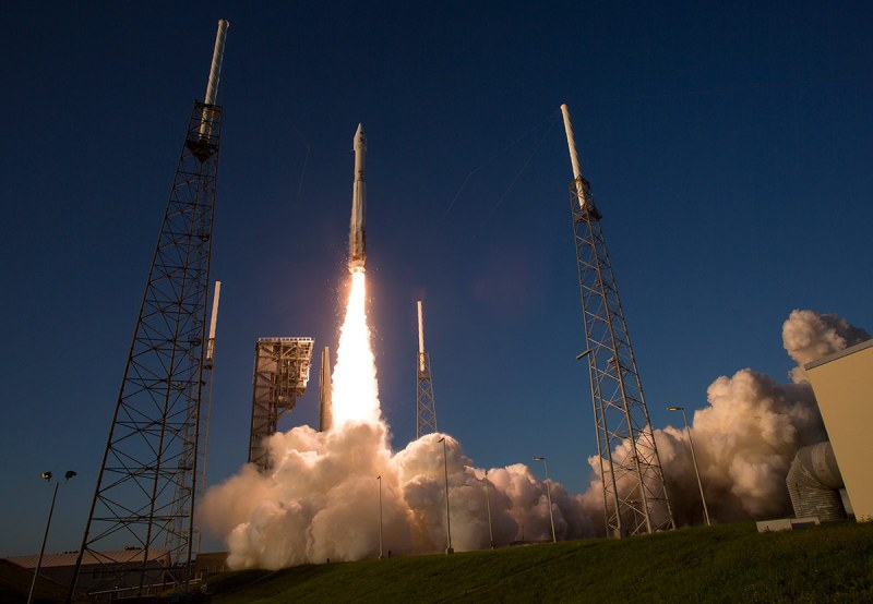 CAPE CANAVERAL, FL - SEPTEMBER 8: In this handout photo provided by NASA, the United Launch Alliance Atlas V rocket carrying NASA's Origins, Spectral Interpretation, Resource Identification, Security-Regolith Explorer (OSIRIS-REx) spacecraft lifts off on from Space Launch Complex 41 on Thursday, Sept. 8, 2016 at Cape Canaveral Air Force Station in Florida. OSIRIS-REx will be the first U.S. mission to sample an asteroid, retrieve at least two ounces of surface material and return it to Earth for study. The asteroid, Bennu, may hold clues to the origin of the solar system and the source of water and organic molecules found on Earth. (Photo by Joel Kowsky/NASA via Getty Images)