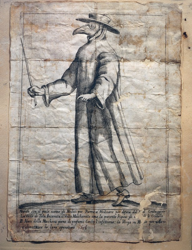 UNSPECIFIED - CIRCA 1900: Italy - XVII century. The plague doctor used to wear a waxed coat, a sort of protective goggles and gloves, the beak of their masks contained aromatic substances. Rome, 1656. (Photo By DEA PICTURE LIBRARY/De Agostini/Getty Images)