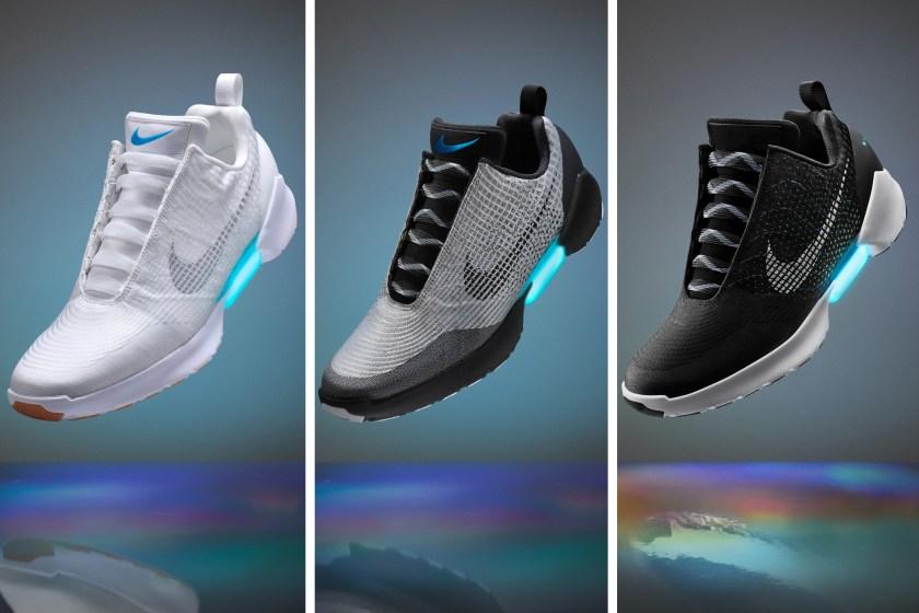 Three varieties of Nike's self-lacing sneaker (Nike)