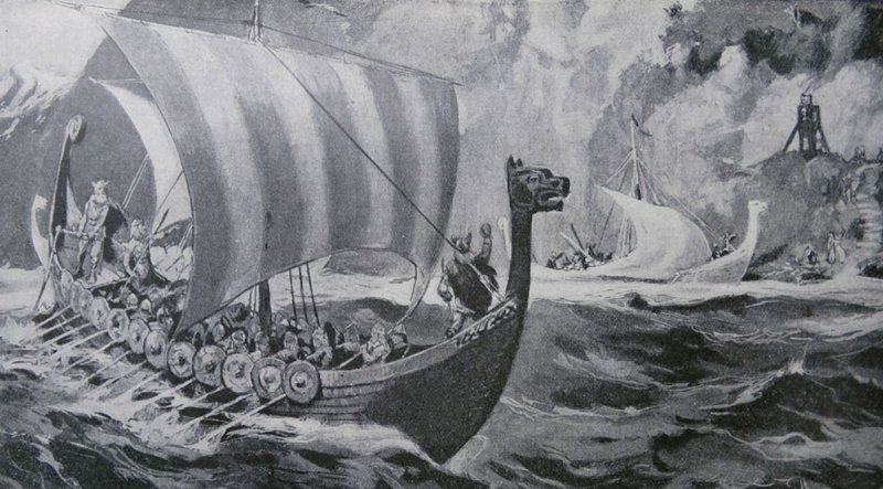 Viking expedition returning to Scandinavia 9th-10th century AD. (Photo by: Universal History Archive/UIG via Getty Images)