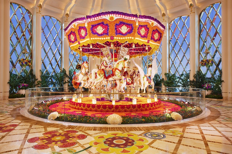 The flower-studded carousel (Wynn Resorts)