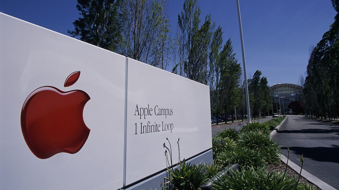 Sign at Macintosh's Silicon Valley Headquarters Entrance (Photo by �� Christopher J. Morris/CORBIS/Corbis via Getty Images)
