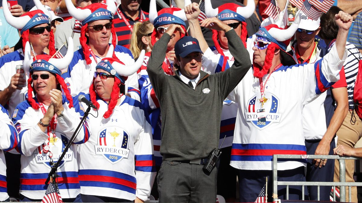 CHASKA, MN - OCTOBER 02: Vice-captain Bubba Watson of the United States cheers with fans in the first grandstand during singles matches of the 2016 Ryder Cup at Hazeltine National Golf Club on October 2, 2016 in Chaska, Minnesota.  (Photo by Streeter Lecka/Getty Images)