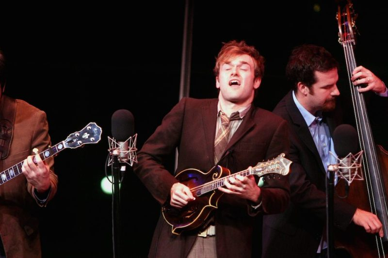 "Punch Brothers performing at the Allen Room as part of Lincoln Center's ""American Songbook"" on Wednesday night, February 20, 2008.This image;From left, Noam Pickelny, Chris Thile and Greg Garrison. (Photo by Hiroyuki Ito/Getty Images)"