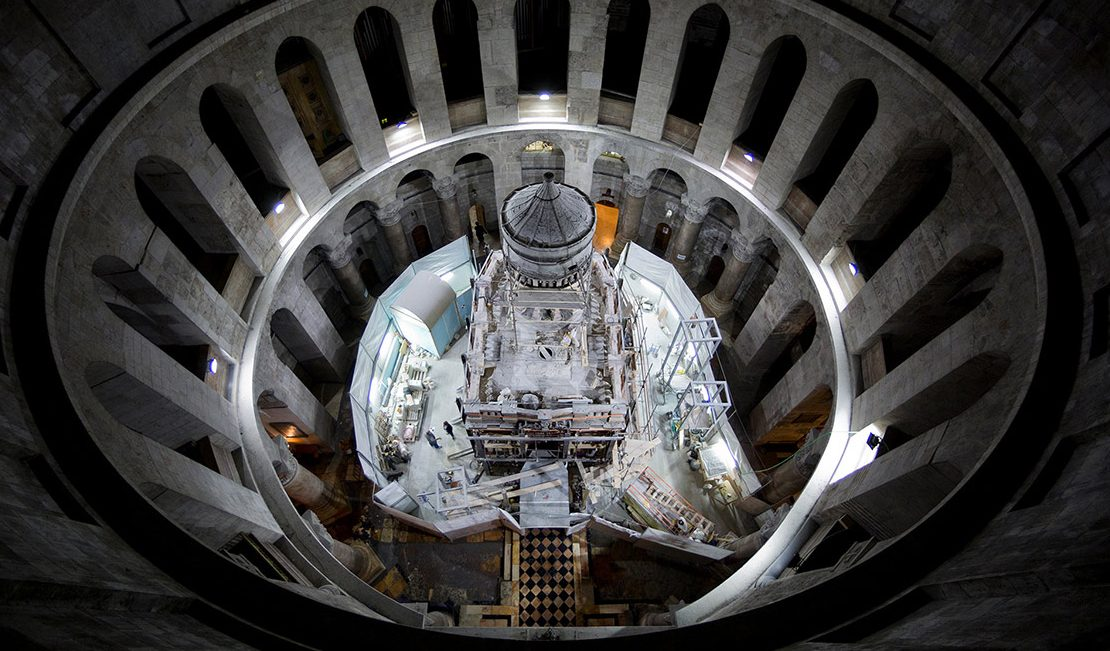 The shrine that houses the traditional burial place of Jesus Christ is undergoing restoration inside the Church of the Holy Sepulchre in Jerusalem. (Oded Balilty/National Geographic)