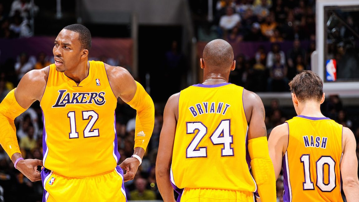 LOS ANGELES, CA - OCTOBER 21: Los Angeles Lakers players Dwight Howard #12, Kobe Bryant #24 and Steve Nash #10 what to resume action against the Sacramento Kings during a pre-season game at Staples Center on October 21, 2012 in Los Angeles, California. NOTE TO USER: User expressly acknowledges and agrees that, by downloading and/or using this photograph, user is consenting to the terms and conditions of the Getty Images License Agreement. Mandatory Copyright Notice: Copyright 2012 NBAE (Photo by Andrew D. Bernstein/NBAE via Getty Images)
