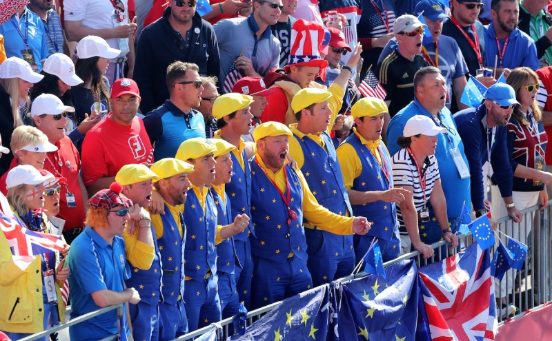 CHASKA, MN - OCTOBER 02: European fans look on from the first tee during singles matches of the 2016 Ryder Cup at Hazeltine National Golf Club on October 2, 2016 in Chaska, Minnesota. (Photo by David Cannon/Getty Images)