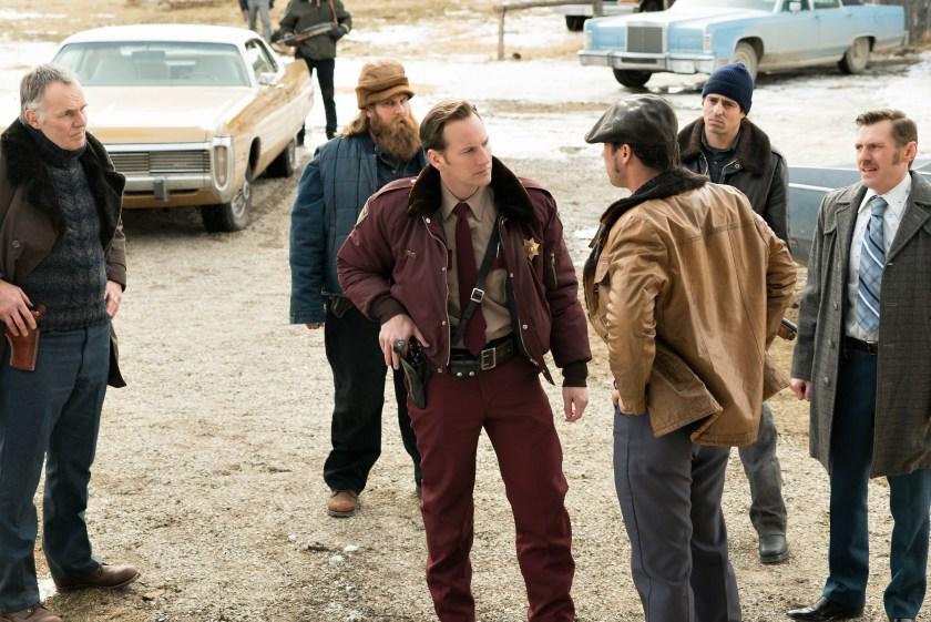"Patrick Wilson as Lou Solverson, Jeffrey Donovan as Dodd Gerhardt, Keir O'Donnell as Ben Schmidt in ""Fargo."" (Chris Large/FX)"