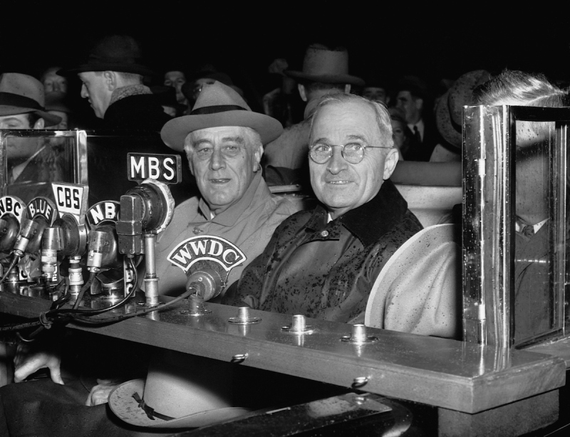 """11/10/1944-Washington, DC: Photo shows President Roosevelt as he made a short radio talk upon his arrival """"home"""" in Washington. Photo shows left to right--President Roosevelt, Vice President-elect Harry S. Truman, and Vice President Henry A. Walleco."""