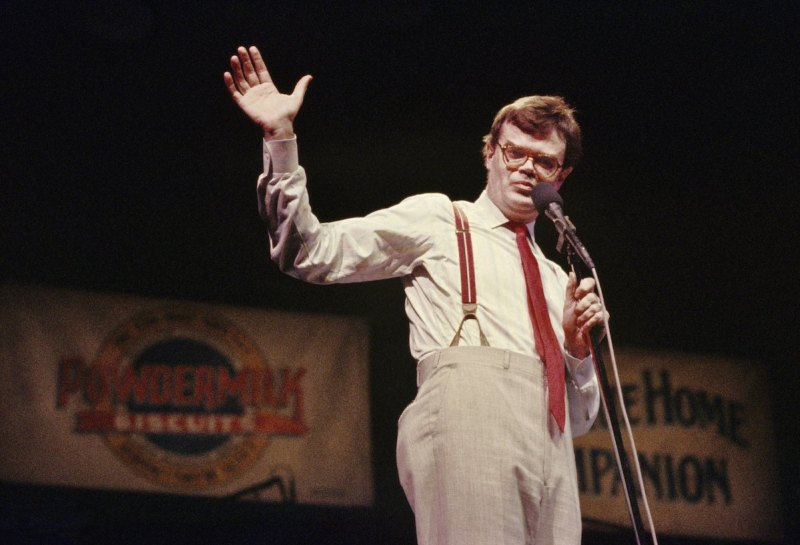 "Garrison Keillor delivers his ""News from Lake Wobegon"" monologue during his PRAIRIE HOME COMPANION live radio show at the Fitzgerald Theater on March 8, 1986 in St. Paul, Minnesota. (Alvis Upitis/Getty Images)"