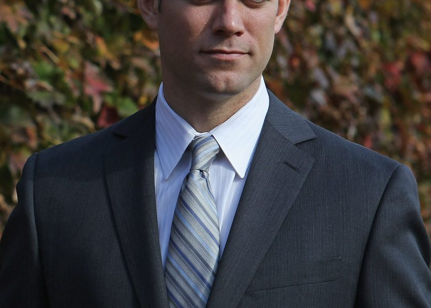 Theo Epstein, the new President of Baseball Operations for the Chicago Cubs, poses in the outfield following a press conference at Wrigley Field on October 25, 2011 in Chicago, Illinois. (Jonathan Daniel/Getty Images)