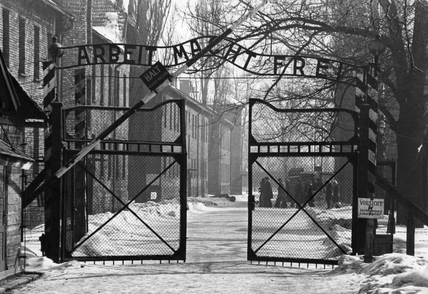 The gates of the Nazi concentration camp at Auschwitz where Yisrael Kristal was sent in his earlier years. (Keystone/Getty Images)