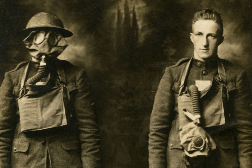 "Fred Hamann poses in a unique double exposure photo showing a pair of ""front line"" poses. Fred is wearing his gas mask and helmet on the left and appears relaxed in the image to the right. This photo was taken when he returned home in January of 1919. (Brennan C Gauthier Collection/Getty Images)"