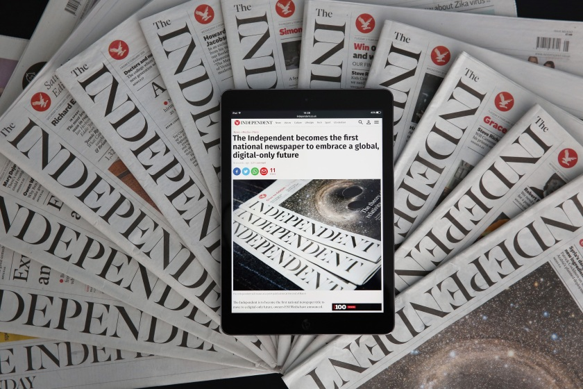 LONDON, ENGLAND - FEBRUARY 12: In this photo illustration is an iPad displaying The Independent's online platform above a selection of The Independent newspapers on February 12, 2016 in London, United Kingdom. The British newspaper 'The Independent' which has been in circulation since 1986, will move to a 'digital only' platform from March 26, 2016, the owners ESI Media said in a statement today. (Photo by Dan Kitwood/Getty Images)