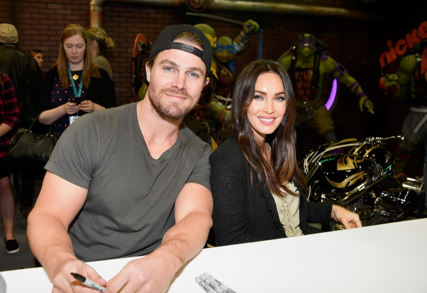 Actors Stephen Amell (L) and Megan Fox attend an autograph signing at WonderCon 2016 to promote the upcoming release of Paramount Pictures' Teenage Mutant Ninja Turtles: Out of The Shadows, on March 25, 2016 at the LA Convention Center in Los Angeles, California. (Frazer Harrison/Getty Images)