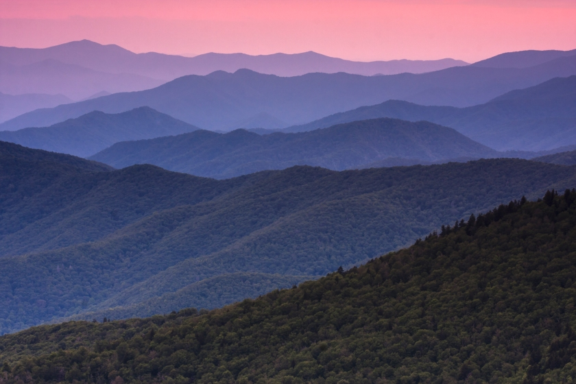 The Great Smoky Mountains in Tennessee at dusk. (Mint Images/Getty Images)