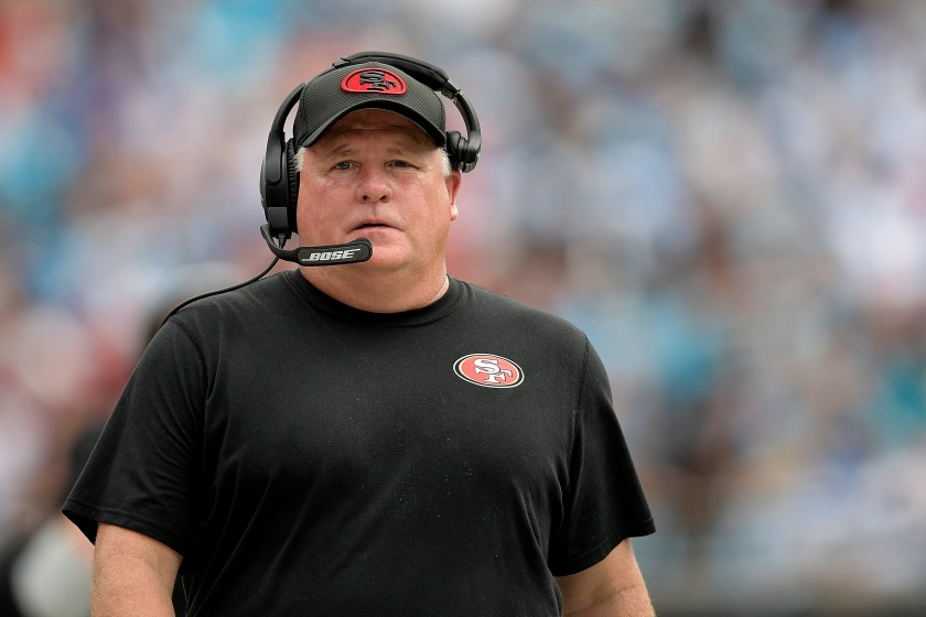 CHARLOTTE, NC - SEPTEMBER 18: Head coach Chip Kelly of the San Francisco 49ers watches his team during the game against the Carolina Panthers at Bank of America Stadium on September 18, 2016 in Charlotte, North Carolina. (Photo by Grant Halverson/Getty Images)
