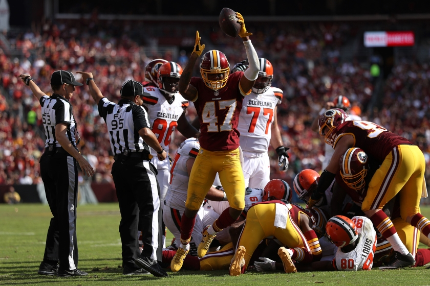 Cornerback Quinton Dunbar #47 of the Washington Redskins celebrates after recovering a fumble against the Cleveland Browns in the third quarter at FedExField on October 2, 2016 in Landover, Maryland. (Photo by Patrick Smith/Getty Images)