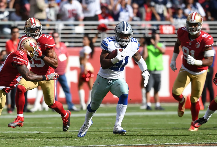 Ezekiel Elliott #21 of the Dallas Cowboys rushes against the San Francisco 49ers at Levi's Stadium on October 2, 2016 in Santa Clara, California. (Thearon W. Henderson/Getty Images)