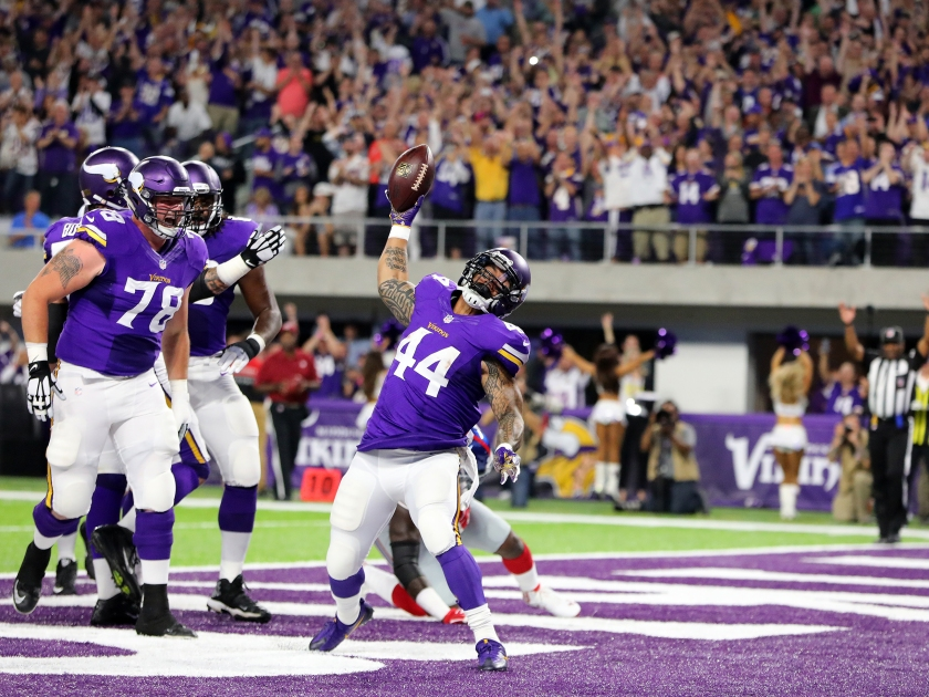 Matt Asiata #44 of the Minnesota Vikings rushes for a touchdown in the first quarter of the game against the New York Giants on October 3, 2016 at US Bank Stadium in Minneapolis, Minnesota. (Adam Bettcher/Getty Images)