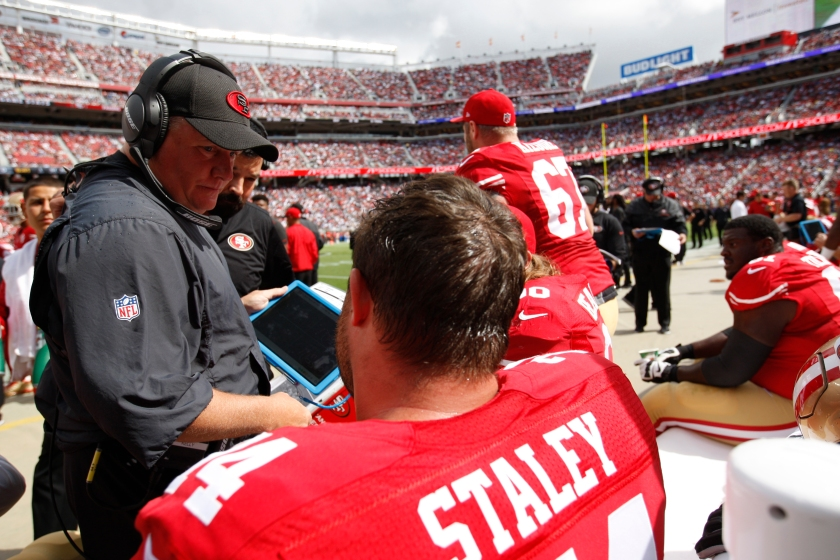 Head Coach Chip Kelly of the San Francisco 49ers talks with Joe Staley #74 on the sideline during the game against the Dallas Cowboys at Levi Stadium on October 2, 2016 in Santa Clara, California. The Cowboys defeated the 49ers 24-17. (Michael Zagaris/San Francisco 49ers/Getty Images)